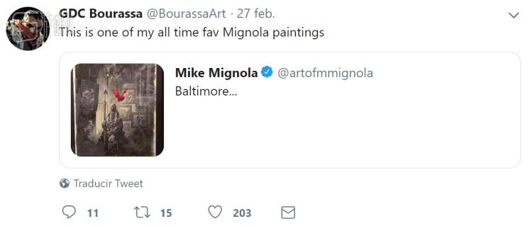 在推特上Chris Bourassa是Mike Mignola的忠实谜弟