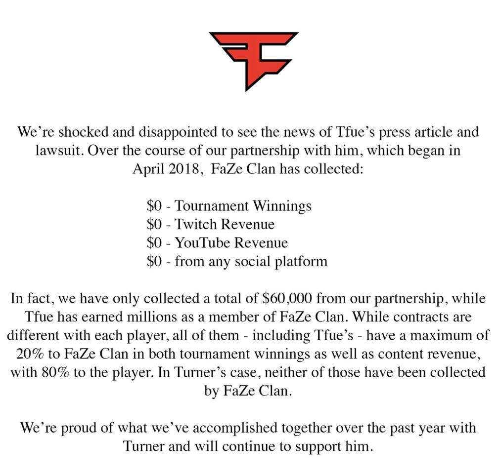 FaZe關於Tfue合約的官方聲明