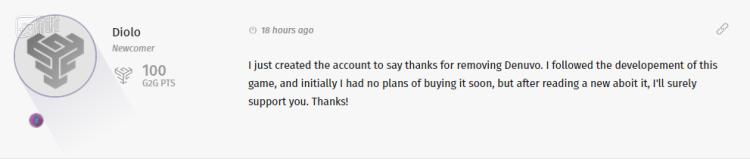 """""""我刚建了个账号,为移除D加密一事表示感谢"""""""